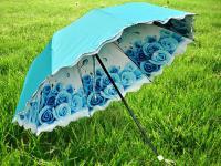 正品爱斯曼3426双层防紫外线遮阳伞内印花晴雨伞折叠彩胶加厚拱形