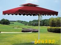 正品物业遮阳伞橡焦伞岗亭伞单边侧立庭院休闲保安伞送大理石底座