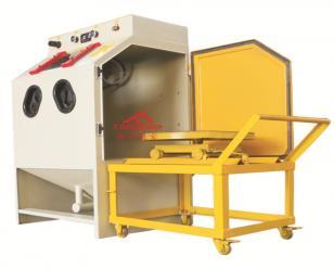 通宝推车转台式手动喷砂机  重型工件喷砂机